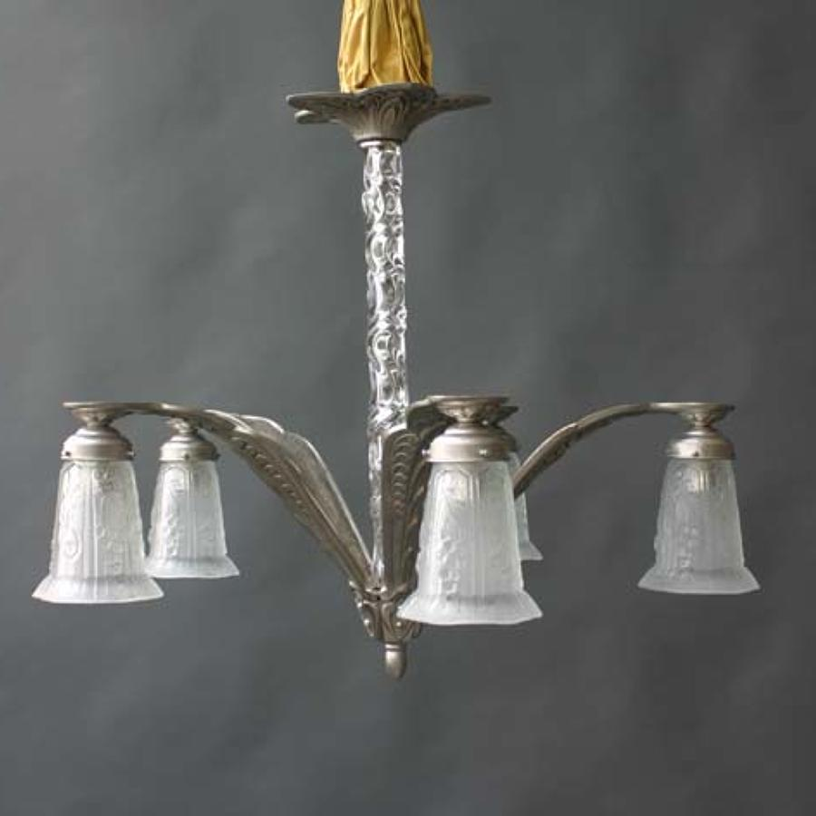 Art Deco, 5 Arms, with Glass Center