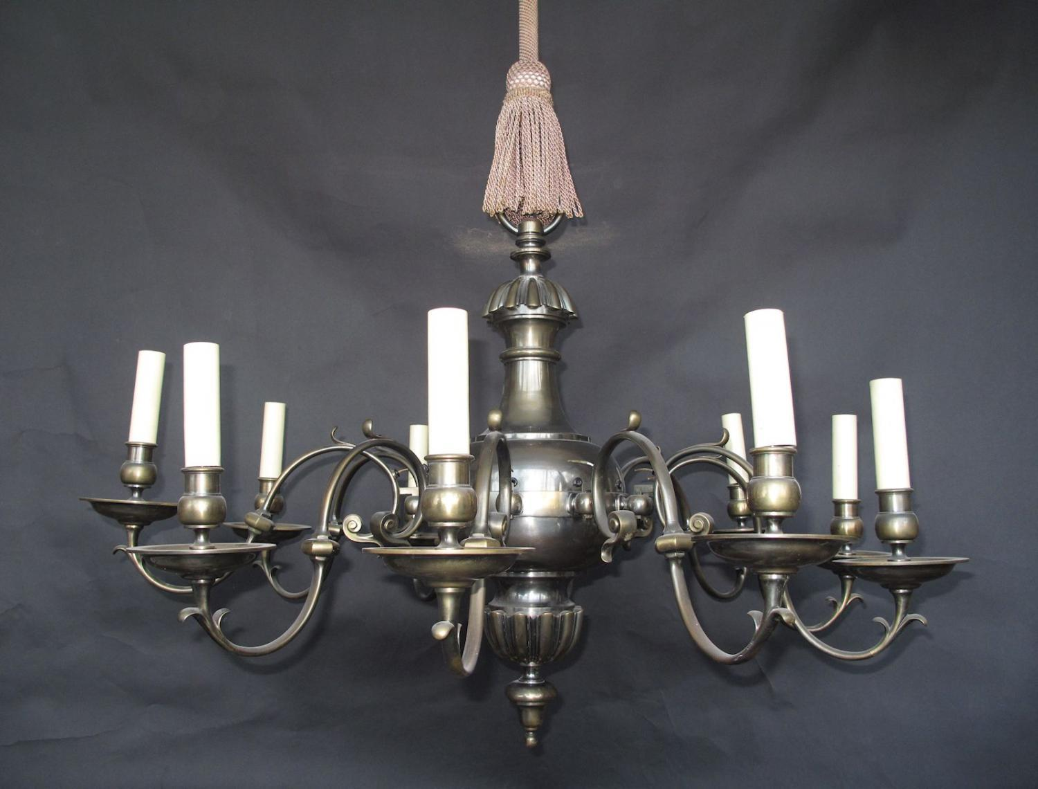 English Brass Chandelier, 10 arms