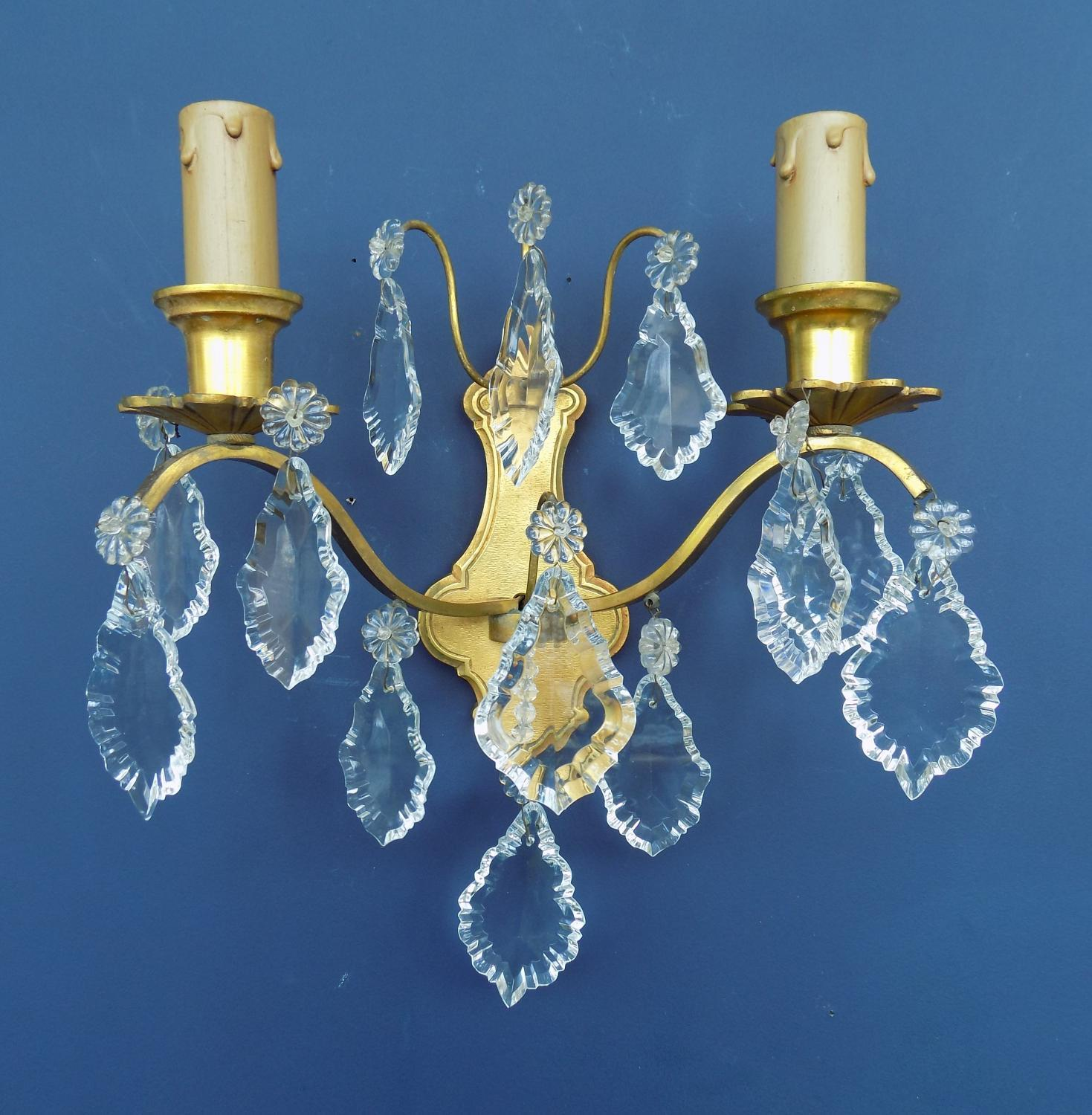 1930's Brass & Crystal Wall Sconce