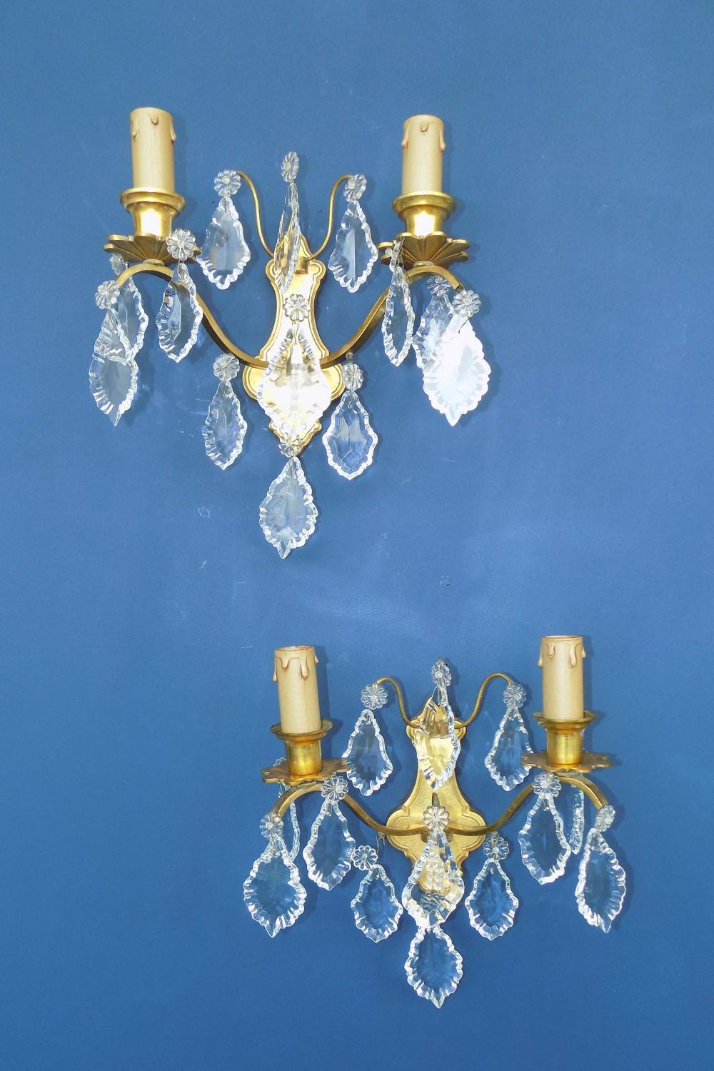 1930s Brass Crystal Wall Sconce In Wall Lights