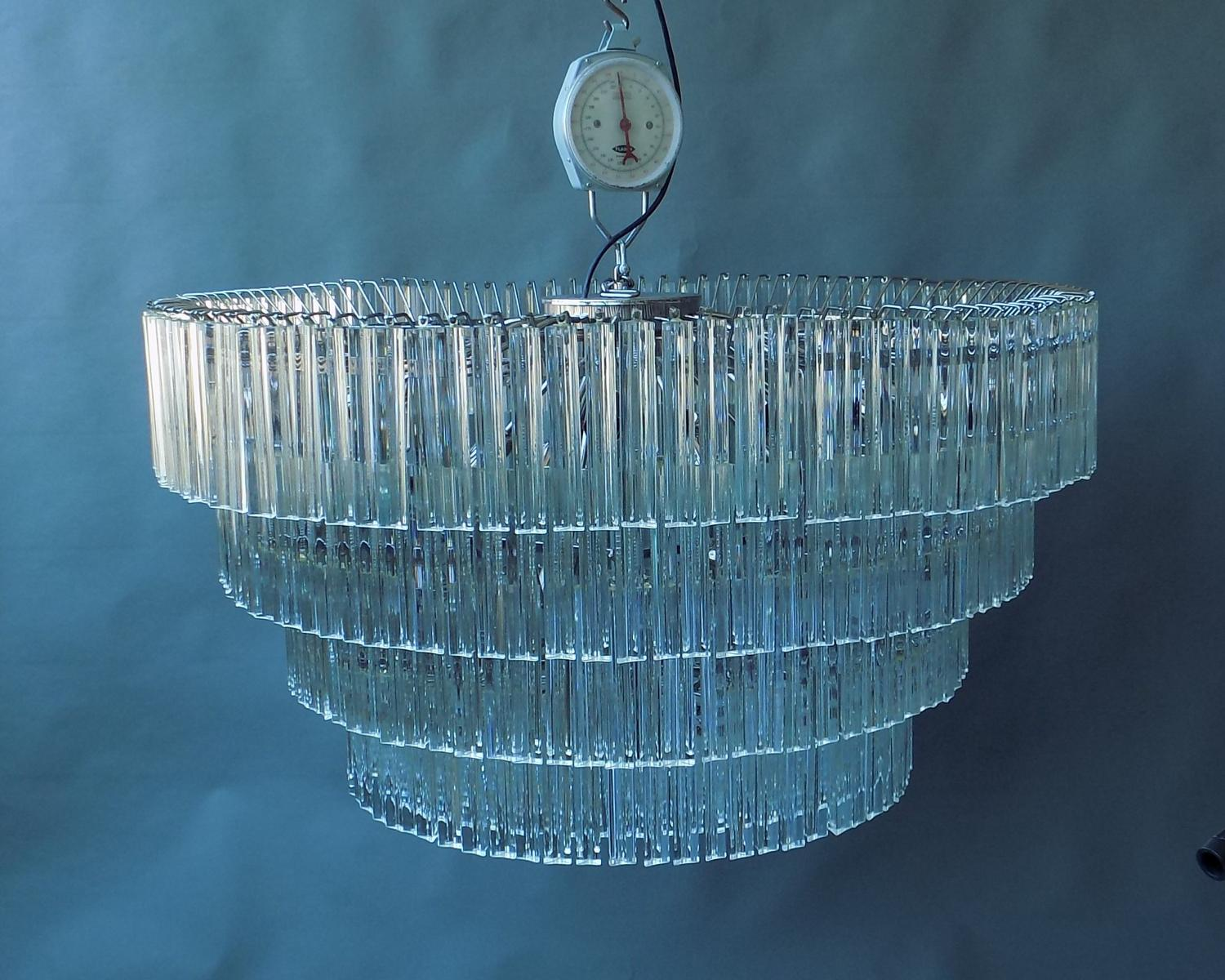 Mid - Century Chandelier with Triedri Glass,