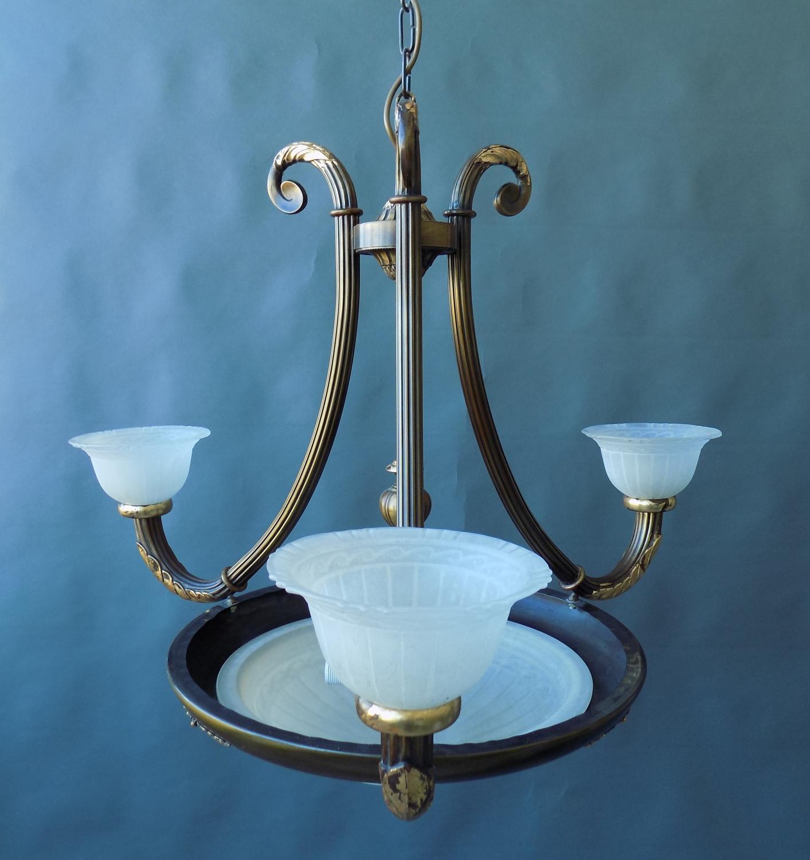 American 1920's Glass and Bronzed Brass Penda