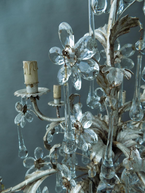 Silver Leaf Metal & Crystal Chandelier
