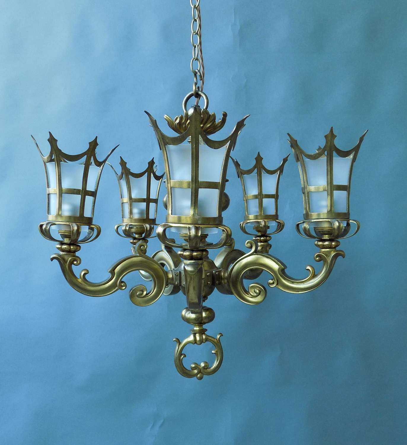 Solid Cast Brass Chandelier