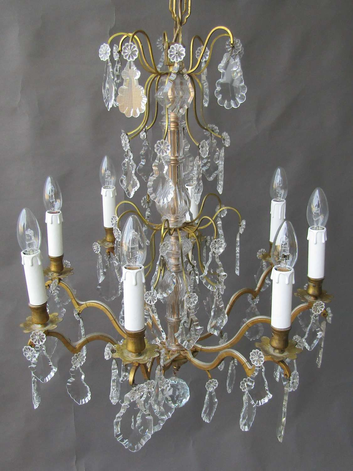 8 Arm French Chandelier Ca 1920's