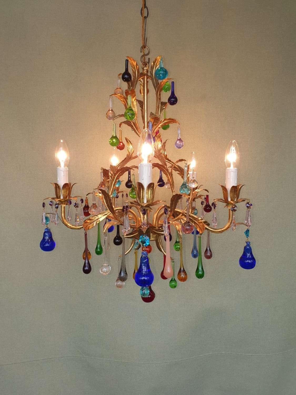 Italian Multicoloured Glass Chandelier